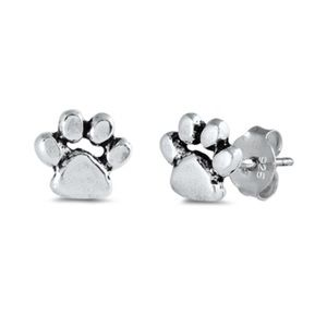 Jewelry - 925 Sterling Silver Paw Print Earrings